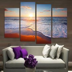 Beautiful Ocean Canvas 4 Pcs Wall Art