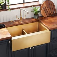 Buy the Signature Hardware 441069 Pewter Direct. Shop for the Signature Hardware 441069 Pewter Atlas Farmhouse Double Basin Stainless Steel Kitchen Sink and save. Single Bowl Sink, Double Bowl Sink, Stainless Steel Farmhouse Sink, Farmhouse Sinks, Farmhouse Furniture, Bronze Kitchen, Gold Kitchen, Basin Design, Spa Design