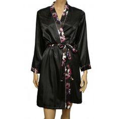 M&S Black Long Sleeve Satin Kimono. Sizes 8-22