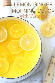 Lemon Ginger Morning Detox Drink With Boiling Water, Meyer Lemons, Fresh Ginger, Ground Turmeric, Honey