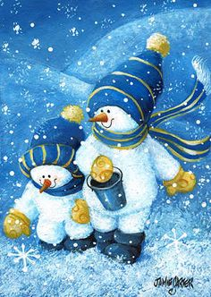 """""""Gathering Snowflakes"""" I love blue and white Christmas and winter scenes"""