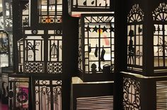 Window display inspired from Hausmanian buildings for the jewellery brand Servane Gaxotte