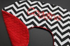 Boppy Cover Black and Red Chevron Monogrammed with Minky. $27.00, via Etsy.
