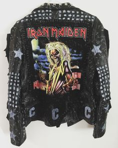 Iron Maiden jacket from Chad Cherry Clothing! Band Outfits, Hot Outfits, Cosplay Outfits, Edgy Outfits, Grunge Outfits, Iron Maiden, Diy Leather Jacket, Egirl Fashion, Battle Jacket