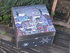 """Купить Шкатулка с интерьерными украшениями """"В зимний день"""" - бирюзовый, подарок, подарок на новый год, шкатулка"""