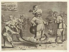 Anonymous   Spotprent op Cromwell als de afgrijselijke Staartman, 1652, Anonymous, 1652   Spotprent op Cromwell als de afgrijselijke Staartman, 1652. Oliver Cromwell met een lange slangenstaart gevuld met geldstukken. Rechts biedt Fairfax hem drie kronen aan. Op de achtergrond admiraal Blake en leden van het Engelse parlement. Links snijden een Hollander en een Zeeuw de staart door, hierbij geholpen door een Fries, een Ier, prins Ruprecht, een Schot en een koningsman (royalist). Linksboven…