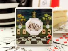 Alice in Wonderland themed Decorative Bedroom Light Switch with White Rabbit and Miniature ´Time For Tea´ Pot