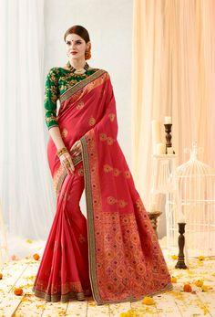 cbc2b3cd5a #Crimson #Red #Jacquard #Banarasi #Silk Designer Sari #zariworksaree #zari