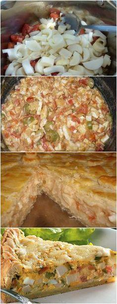 ESSA TORTA FICA DE MATARRRR!! VEJA AQUI>>>Salsa a gosto Pimenta a gosto (opcional) 2 colheres (sopa) de óleo 2 colheres (sopa) de farinha de trigo dissolvida em um pouco de água. #MASSAS#TORTAS#