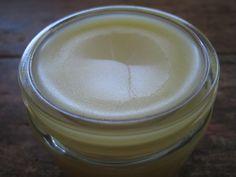 -1 1/2 ounces beeswax, grated -1 cup olive, almond, or coconut oil -1/4 teaspoon vitamin E oil -1/2 teaspoon tea tree oil -20 drops lavender essential oil -10 drops lemon essential oil