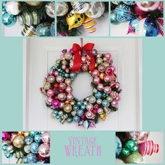 Bauble wreath - Really like the greenery showing through.  Link to original tutorial in post, this is an updated wreath pic