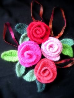 Crochet Rose Pattern Tutorial pdf, Felted Flower Crochet Pattern, 6 sizes via Etsy