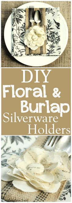 How to make: Silverware Sleeve! Pretty up your table with this easy sewing project! Great tutorial for making the Fabric flower too!