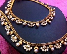 US $24.90 Romantic pearl polki payal with charming little flowers payal Indian anklet sh57 #ADIVA