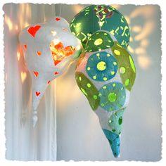 Love these quirky papier mache lamps!