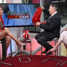 Had a such a blast today with @kristenbrockman and @helloross on @hollywoodtodaylive  chit chatting a bit about #AllRedEverything  can't not wait to come back thank you guys for having me #TotalDivas #WWE #Bellami #TestaRossa