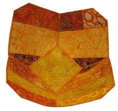 Reversible Fabric Bowl in Orange and Yellow Batik by Sieberdesigns