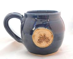 c579e75efab Ceramic Handmade Pottery Wheel thrown Stoneware Bike Mug by Jewel Pottery  Cup Each one Unique