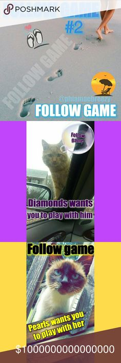 👣FG #2 Follow && Share, Share, Share Diamonds and Pearls want to play with you🐱  Follow game #2   Like this listing, follow me & everyone else who likes  Share, share, SHARE ! Other