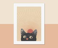 Abstract Sun Printable, Cat Portrait Print #midcentury #midcenturymodern #printable #printables #wallart #prints #art #midcenturyposter #downloadable #diyart #minimalist #abstract #abstractart #minimalistart #cat #blackcat Cat Posters, Burnt Orange, Diy Art, Midcentury Modern, Mid Century, Wall Decor, Boho, Portrait, Cats