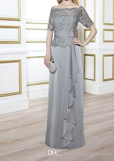 Bateau Short Sleeve draped Mother of the Bride Dress With Lace A-Line Tea-Length Half Sleeve Jewel Neck Beaded Lace Prom Dress - Dress Afford Mother Of The Bride Gown, Mother Of Groom Dresses, Mothers Dresses, Lace Dress, Mom Dress, Lace Bodice, Dress Long, Draped Dress, Dress Formal