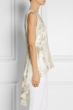 Lela Rose | Floral metallic fil coupé top | NET-A-PORTER.COM