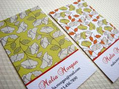 Falling Leaves Business Card Calling Card  Set of by PikakePress, $22.00