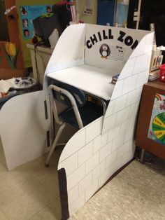 "One pinner wrote: ""My ""Chill Zone"", an Igloo where my students can calm their minds and bodies when they are upset!!!"" This is a great example of a cool-off/ positive time-out space for a second or third grade classroom."