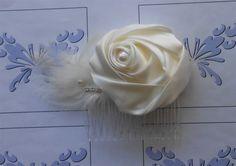 Ivory Rose Bridal Comb 1920 Style Headpiece by NeedleCraftNook on Etsy