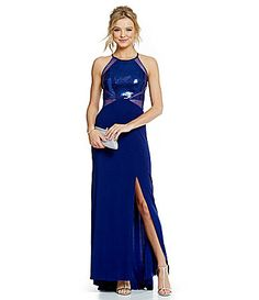 Sequin Embellished Bodice Illusion Waist Gown  6c41f8a57598