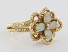 Vintage Estate Diamond Opal Flower 14 Karat Yellow Gold Ring Band Fine Heirloom Used Jewelry