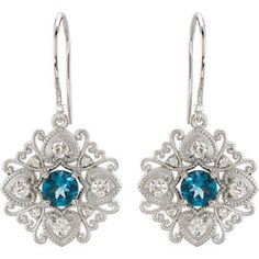 Diamond Decorative Drop Dangle Earrings - Available in Sterling Silver , 14K White Gold or 14K Yellow Gold  - STONE TYPE: Round Faceted London Blue Topaz