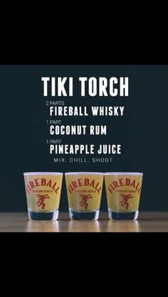 Tiki Torch - Fireball, Coconut Rum and Pineapple Juice Fireball Drinks, Fireball Recipes, Alcohol Drink Recipes, Alcoholic Drinks, Fireball Shot, Alcohol Shots, Mixed Drinks With Fireball, Drinks With Coconut Rum, Drink Recipes