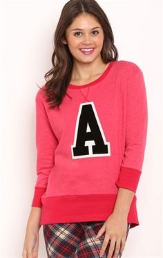 Deb Shops High Low French Terry Top with Letter A Screen $10.00