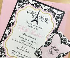 Paris inspired lingerie bridal shower invitation by Three Little Birds #paris #bridalshower #lingerie #lingerieshower