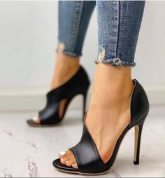 PU neck peep toe skinny sandals , PU Cutout Peep Toe Thin Heeled Sandals , Zapatos Source by Strap Heels, Pumps Heels, Ankle Strap, Stiletto Heels, High Heels, Heeled Sandals, Sexy Heels, Wedge Heels, Heeled Boots