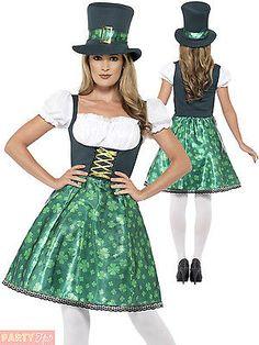 f35e593d1c355 Ladies Leprechaun Lass Costume Adults Irish Ireland St Patricks Day Fancy  Dress