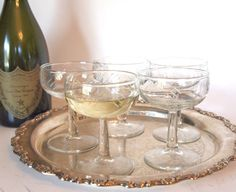 Vintage Champagne Coupe Glasses Etched With Geometric Lines - Set of 5  by HouseofLucien