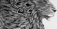 Este es un león hecho con Zentangle Art.