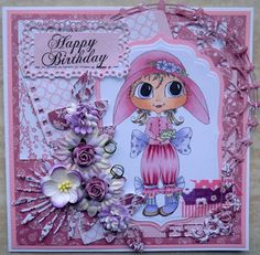 Darling card made by Hanny Eefting using Teacup Tilly Bestie stamp by Sherri Baldy.