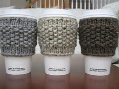 Free Knitting Pattern Coffee Cup Sleeve : 1000+ images about Cup Cozies on Pinterest Cup Cozies, Coffee Cozy and Patt...