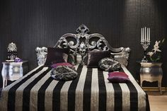 Black and white striped bed <3 goth glam