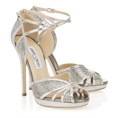Choo FAYME Champagne Glitter Sandals