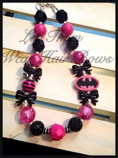 Hot Pink and Black Bat Girl Chunky Bead Necklace with Feltie Pendant for Little Girls, Toddlers, Teens, Kids Jewelry, Trendy Gift, Popular on Etsy, $13.49
