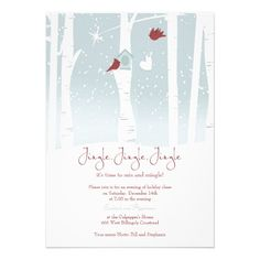 Christmas Party Invitations Birdhouse Cardinal.  $2.05