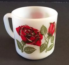 Red Roses Federal F Milk Glass Mug Cup Vtg 10 Oz Flowers White USA 4 Available #Federal