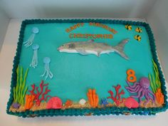 Under The Sea Birthday Cake A great white shark, and other sea life for a little boy who loves the ocean and all that is in it.