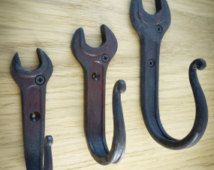Blacksmith Forged Iron Wrench Wall Hooks.Set of 3 pieces.