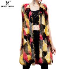 [HONGZUO] Women Faux Fur Vest Patchwork Gradual Color Lady Waistcoat Sleeveless Faux Fur Coat Long Slim Fur Outerwear PC164