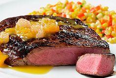 Citrus-Soy Australian Beef Ribeye Steak with Corn and Pepper Medley | #TABeef #ribeye www.australian-beef.com
